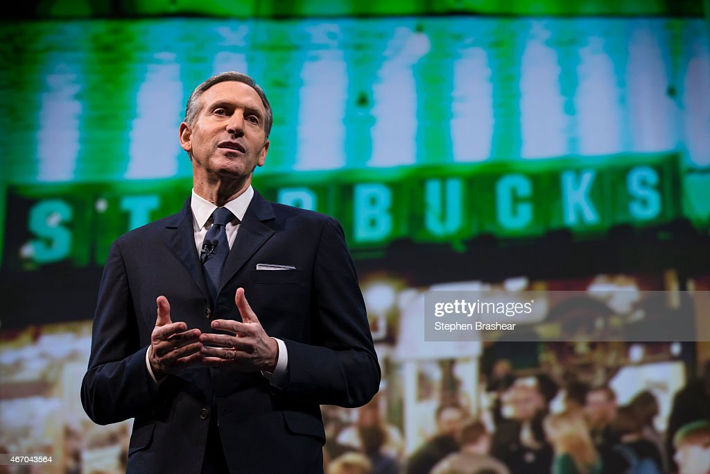 Starbucks Chairman and CEO Howard Schultz speaks during Starbucks annual shareholders meeting March 18, 2015 in Seattle, Washington. Schultz announced a 2-for-1 stock split, the sixth in the company's history, during the meeting.