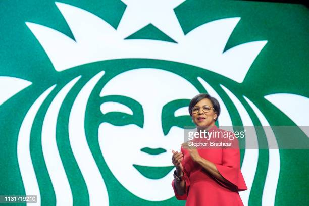 Starbucks Chief Operating Officer and group president Roz Brewer speaks during the company's annual shareholders meeting at WAMU Theater on March 20...