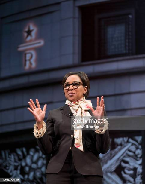 Starbucks Chief Operating Officer Roz Brewer answers a question during the Starbucks Annual Shareholders Meeting at McCaw Hall on March 21 2018 in...