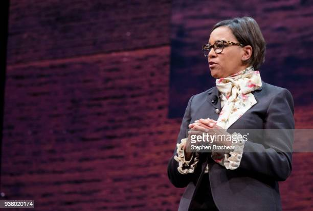 Starbucks Chief Operating Officer Roz Brewer speaks during the Starbucks Annual Shareholders Meeting at McCaw Hall on March 21 2018 in Seattle...