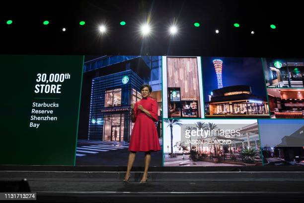 Starbucks Chief Operations Officer and Group President Rosalind 'Roz' Brewer mentions reaching the 30000 store milestone a Starbucks Reserve in...