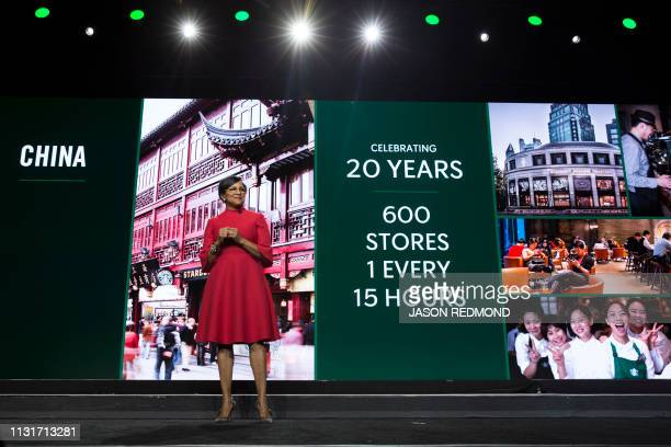 Starbucks Chief Operations Officer and Group President Rosalind 'Roz' Brewer mentions China as she speaks at the Annual Meeting of Shareholders in...
