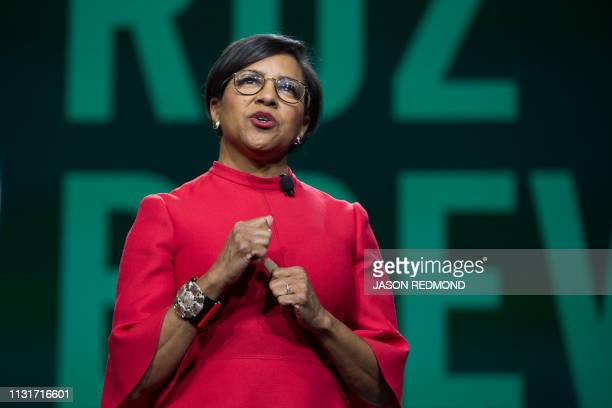 Starbucks Chief Operations Officer and Group President Rosalind 'Roz' Brewer speaks at the Annual Meeting of Shareholders in Seattle Washington on...