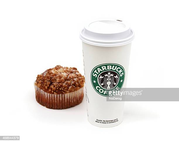 Starbucks coffee cup with muffin