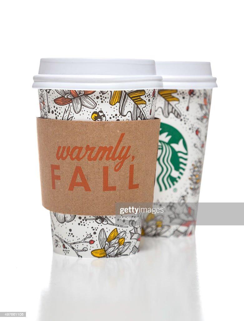 Starbucks Coffee Cups With Autumn Decorative Motives Stock Photo