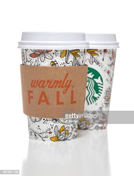 Starbucks coffee cups with autumn decorative motives