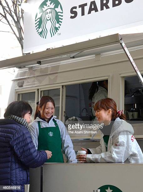 Starbucks Coffee hold a tasting event ahead of their launch in Tottori prefecture that will cover all 47 prefectures in Japan in front of the JR...