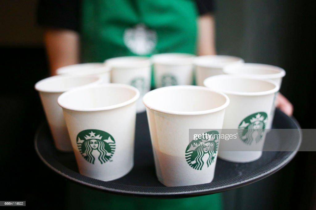 New StarBucks Coffee Opens in Krakow : News Photo