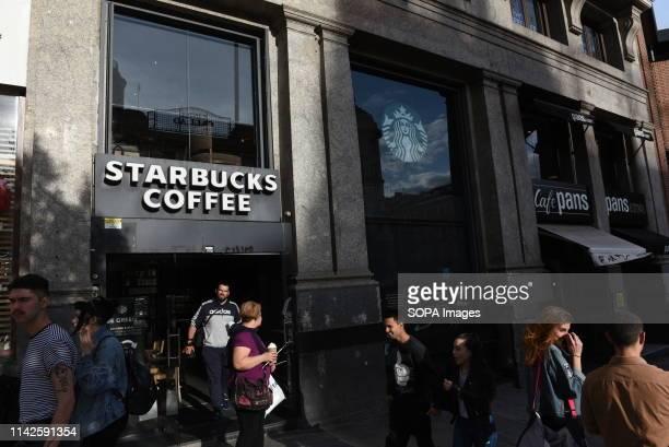 Starbucks Coffee shop seen at Callao square in Madrid