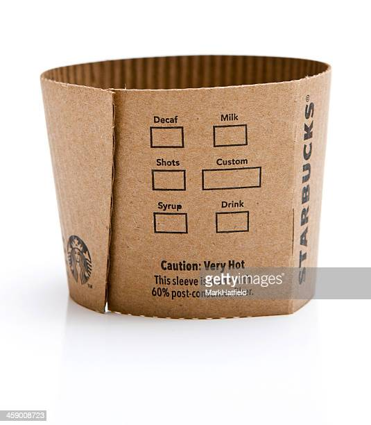 starbucks coffee sleeve - long sleeved stock pictures, royalty-free photos & images