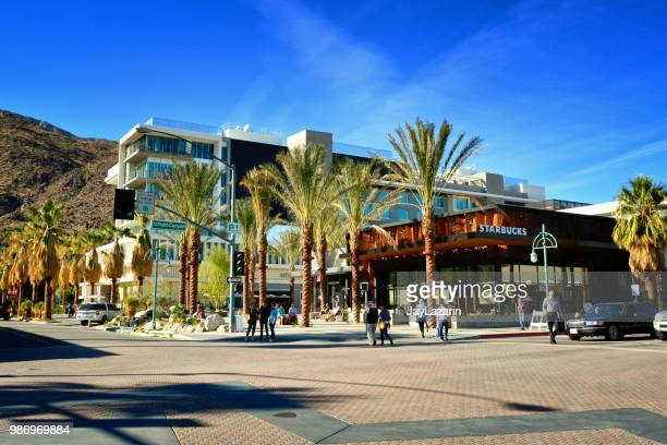 starbucks coffee store and public space, palm springs, southern california, usa - palm springs stock pictures, royalty-free photos & images
