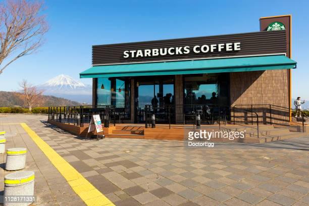 Starbucks Coffee Store with Mount Fuji Background at Fujikawa Service Area of Tomei Expressway, Japan