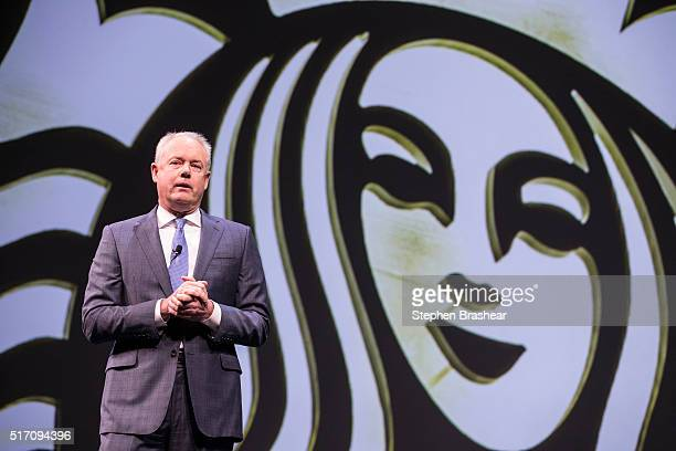 Starbucks COO Kevin Johnson speaks during the Starbucks Annual Shareholders Meeting on March 23 2016 in Seattle Washington In addition to previewing...