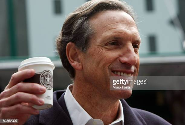 Starbucks Corp Chairman and Chief Executive Howard Schultz holds a cup of their new everyday brew Pikes Place Roast in Bryant Park April 8 2008 in...