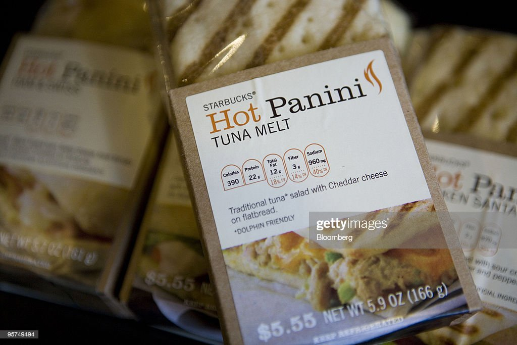 A Starbucks Corp. new low calorie tuna melt hot panini sandwich is arranged for a photograph in New York, U.S., on Wednesday, Jan. 13, 2010. New Yorkers were more inclined to buy coffee from Starbucks Corp., especially from stores near a Dunkin' Donuts outlet, after restaurant chains were required to display calorie counts on products, researchers found. Photographer: Ramin Talaie/Bloomberg via Getty Images