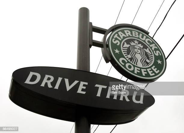 Starbucks drivethru sign is seen outside its store December 28 2005 in Wheeling Illinois Starbucks opened 354 drivethru stores in the US in the past...