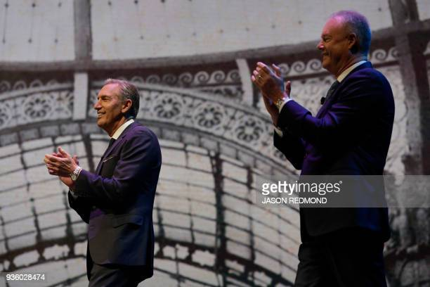 Starbucks Executive Chairman Howard Schultz and President and Chief Executive Officer Kevin Johnson are pictured at the Starbucks Annual Meeting of...