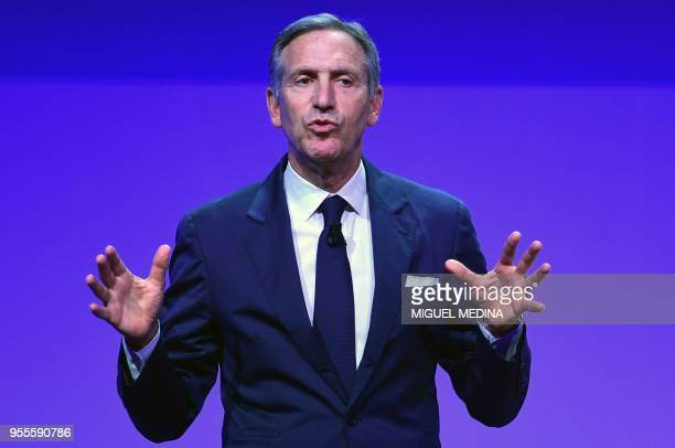 Starbucks' Executive Chairman Howard Schultz delivers a speech during the openning ceremony of the Seeds Chips the Global Food Innovation Summit in...