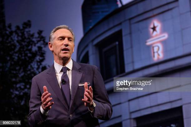 Starbucks Executive Chairman Howard Schultz speaks during the Starbucks Annual Shareholders Meeting at McCaw Hall on March 21 2018 in Seattle...