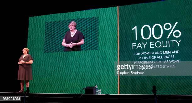 Starbucks executive vice president and chief partner officer Lucy Helm speaks during the Starbucks Annual Shareholders Meeting at McCaw Hall on March...