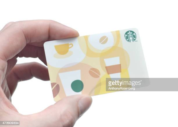 starbucks gift card - gift card stock photos and pictures