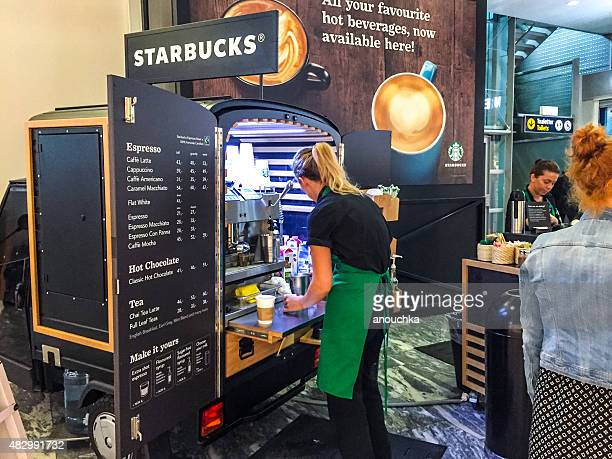 Starbucks mobile kiosk at Oslo Airport, Norway
