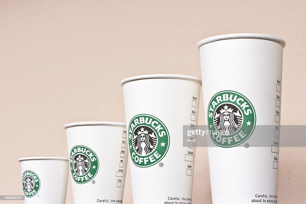 Starbucks Paper Coffee Cups : Stock Photo