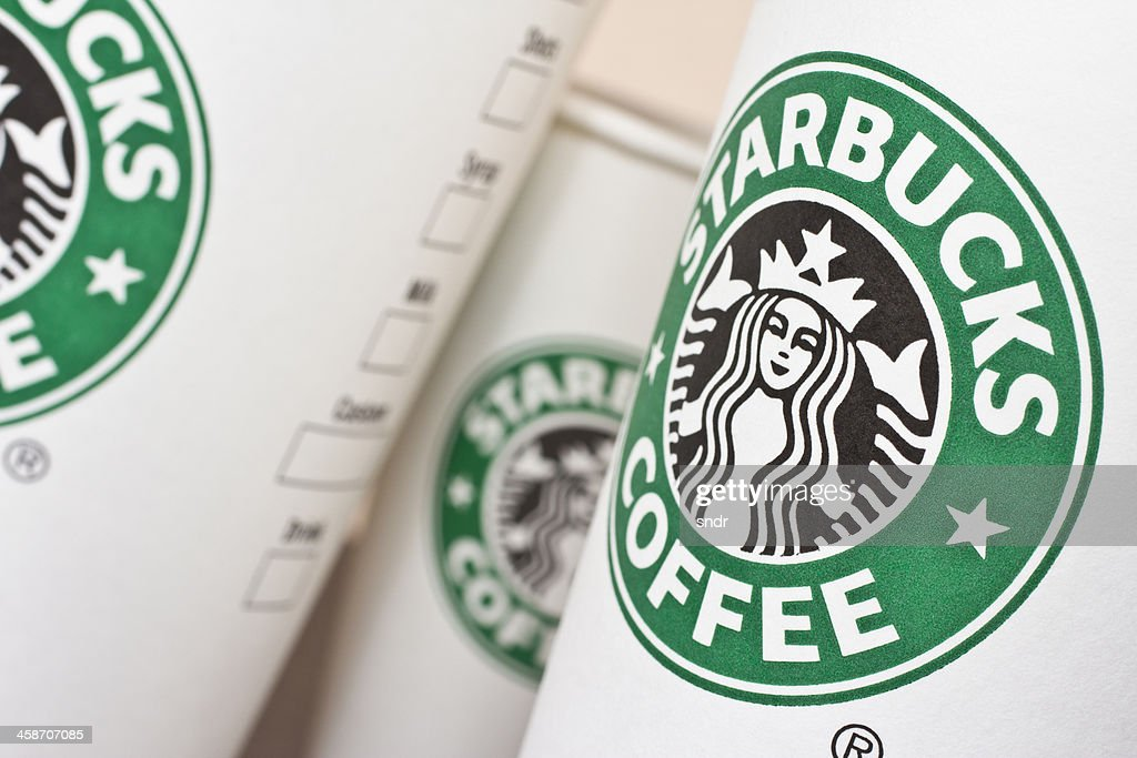 Starbucks Paper Coffee Cups Stock Photo Getty Images
