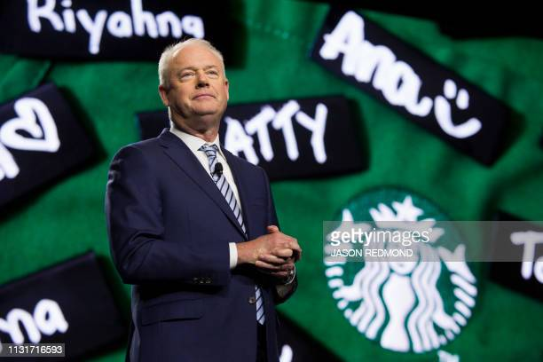 Starbucks President and Chief Executive Officer Kevin Johnson is pictured at the Annual Meeting of Shareholders in Seattle Washington on March 20 2019