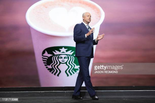 Starbucks President and Chief Executive Officer Kevin Johnson speaks at the Annual Meeting of Shareholders in Seattle Washington on March 20 2019