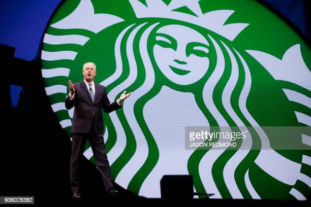 Starbucks President and Chief Executive Officer Kevin Johnson speaks at the Starbucks Annual Meeting of Shareholders at McCaw Hall in Seattle...