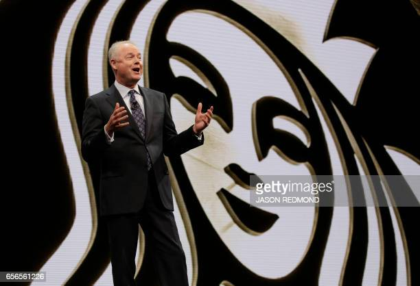 Starbucks President and Chief Operating Officer Kevin Johnson speaks at the Annual Meeting of Shareholders at McCaw Hall in Seattle Washington on...