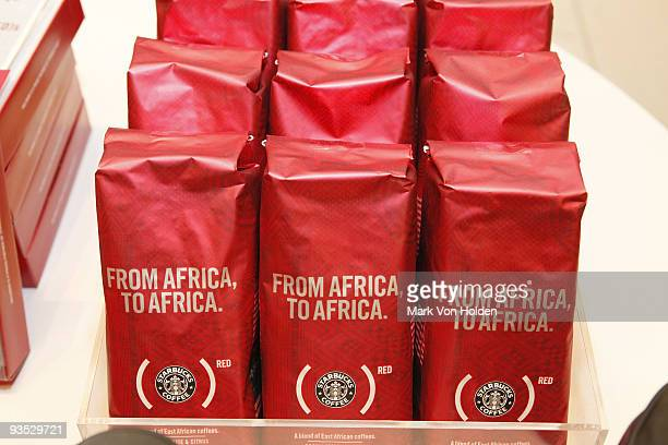Starbucks product on display in honor of World AIDS Day December 1 2009 in New York City opened a popup store in New York which features the latest...