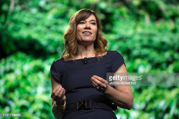 Starbucks Senior Vice President Global Coffee and Tea Michelle Burns speaks at the Annual Meeting of Shareholders in Seattle Washington on March 20...