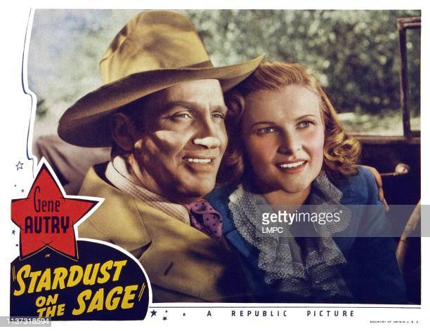 Stardust On The Sage US lobbycard from left Gene Autry Louise Currie 1942