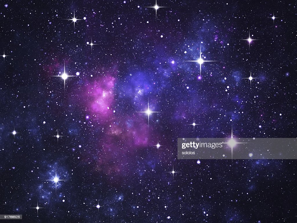 Starfield with flares : Stock Photo