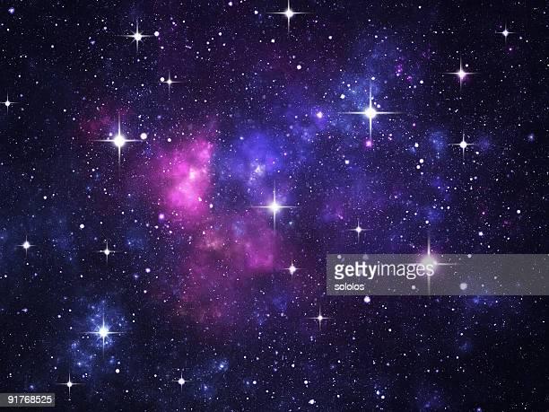 Campo de estrelas com foguetes