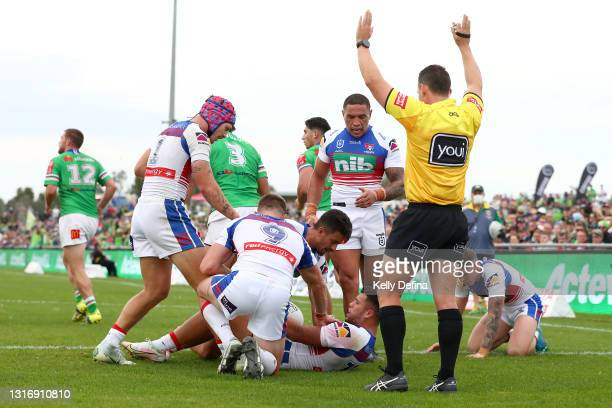 Starford To'a of the Knights in action during the round nine NRL match between the Canberra Raiders and the Newcastle Knights at , on May 08 in Wagga...