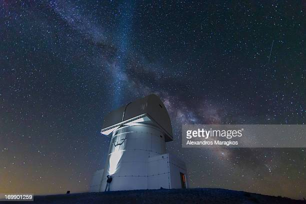 CONTENT] Stargazing the Milky Way over Aristarchos Telescope at the top of Chelmos Mountain in Achaia Kalavryta Greece at an altitude of 2340m/7677ft...