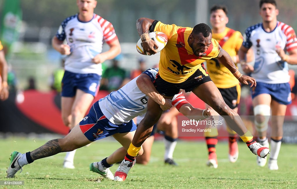 Stargroth Amean of Papua New Guinea breaks through the defence during the 2017 Rugby League World Cup match between Papua New Guinea and the United States on November 12, 2017 in Port Moresby, Papua New Guinea.