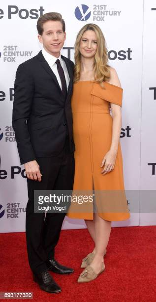 Stark Sands and Gemma Clarke arrive at The Post Washington DC Premiere at The Newseum on December 14 2017 in Washington DC