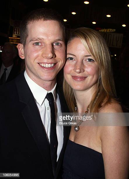 Stark Sands and his girlfriend Gemma Clark pose at the Opening Night of Driving Miss Daisy on Broadway at the Golden Theatre on October 25 2010 in...