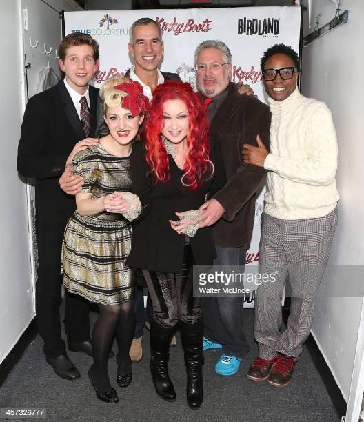 Stark Sands Annaleigh Ashford Jerry Mitchell Cyndi Lauper Harvey Fierstein and Billy Porter attend 'Kinky Kabaret' at Birdland Jazz Club on December...