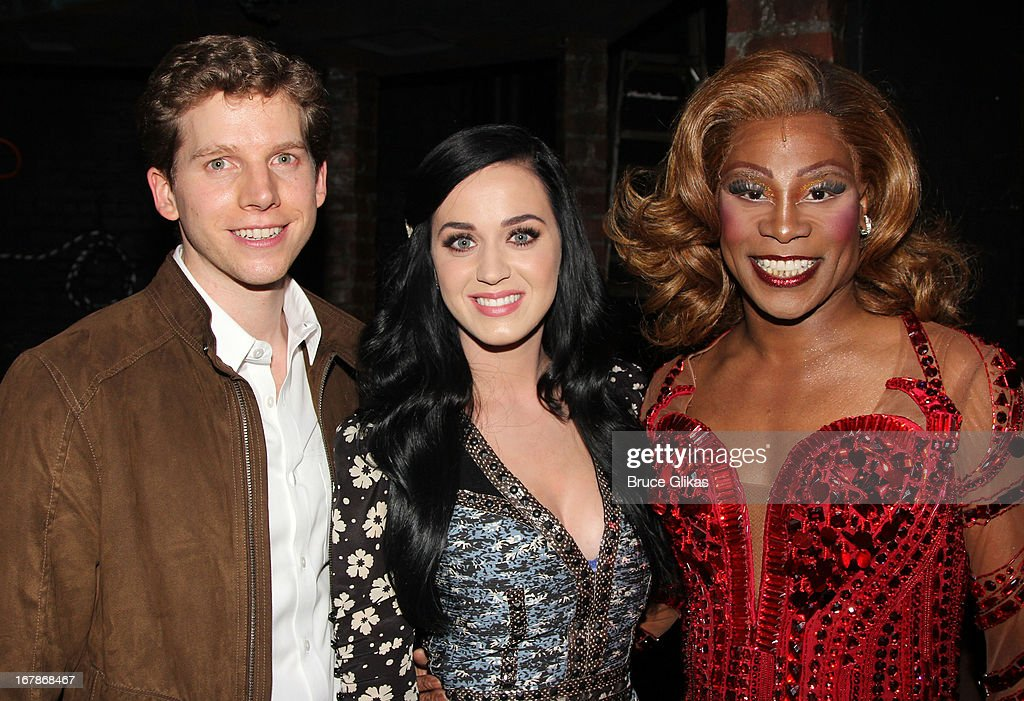 Stark Sands as 'Charlie', Katy Perry and Billy Porter as 'Lola' pose backstage at the Tony Nominated hit musical 'Kinky Boots' on Broadway at The Al Hirshfeld Theater on May 1, 2013 in New York City.