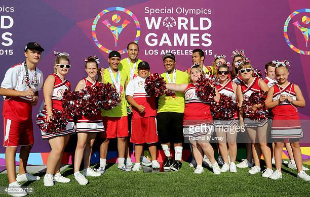 Starkey Hearing Foundation Ambassador Kyle Massey team Respect and their cheerleaders participate in The Special Olympics Unified Sports Experience...
