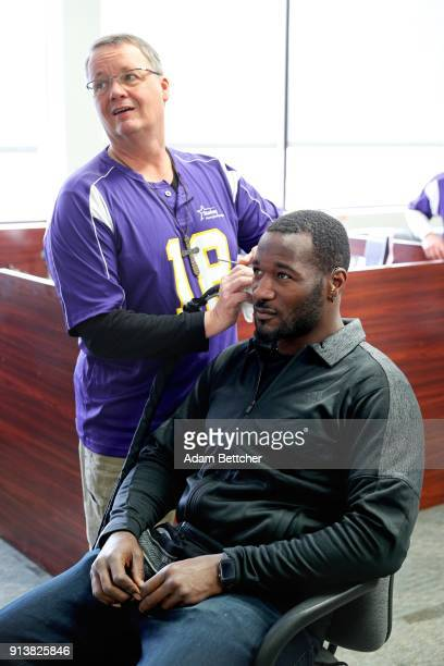 Starkey Hearing Technologies Hearing specialist Greg Austin and NFL player Derrick Coleman attends the 2018 Big Game Weekend Hearing Mission With...
