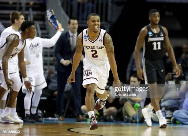 Starks of the Texas AM Aggies reacts after a three point shot against the Providence Friars during the first round of the 2018 NCAA Men's Basketball...