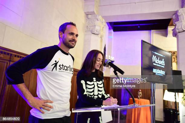 CEO Starlight Children's Foundation Chris Helfrich and Manager Global Sourcing at Michaels Stores Inc Gabriela Morris at the Dream Halloween 2017...