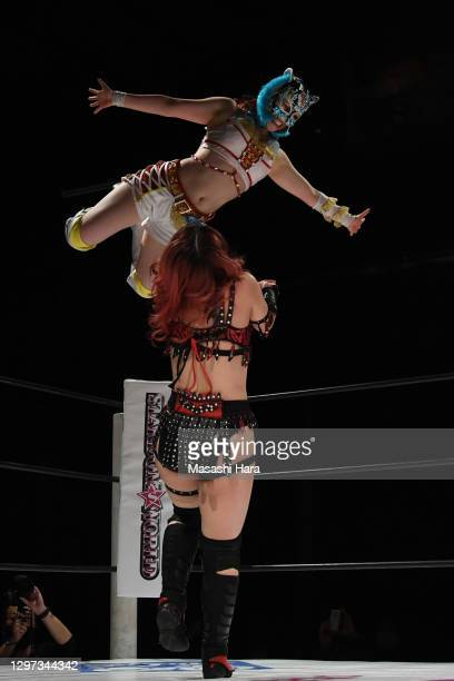 Starlight Kid and Utami Hayashishita compete during the Women's Pro-Wrestling 'Stardom' at the Shinkiba 1st Ring on January 03, 2021 in Tokyo, Japan.
