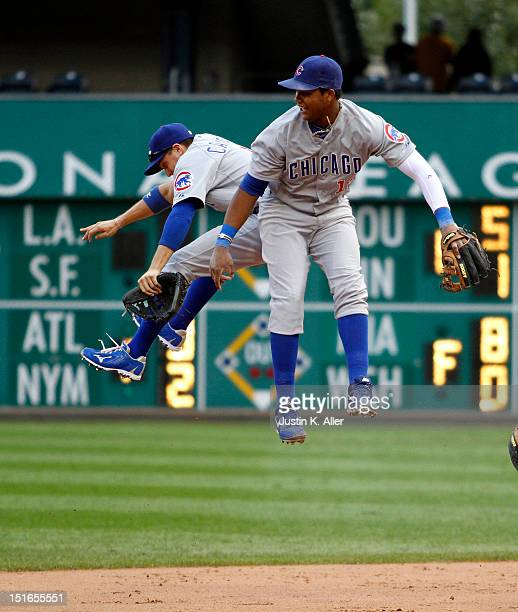 Starlin Castro and Tony Campana of the Chicago Cubs celebrate after defeating the Pittsburgh Pirates during the game on September 9, 2012 at PNC Park...